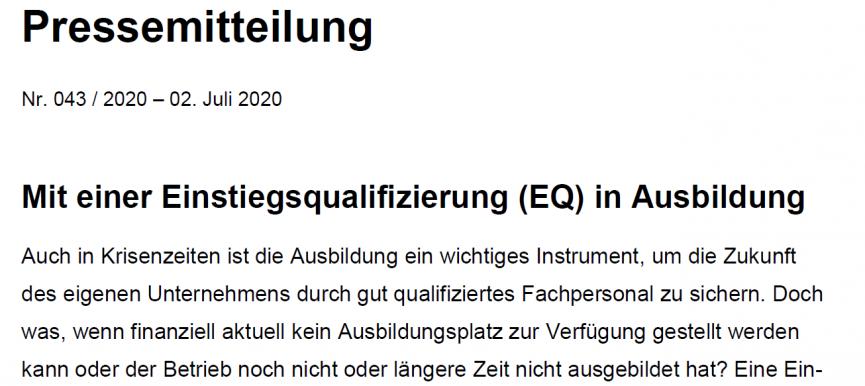 Mit Einstiegsqualifizierung (EQ) in Ausbildung